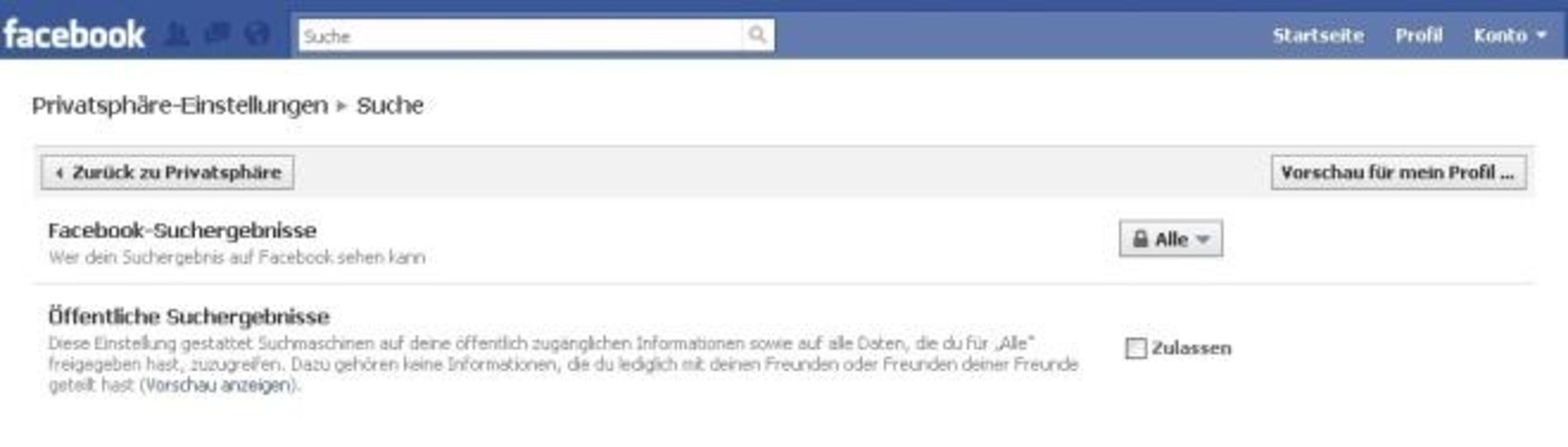 Facebook - Entfernen Sie das Häkchen, ...fil nicht mehr über Google auffindbar.