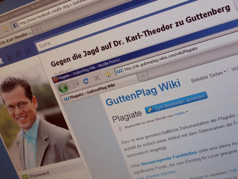 Der Screenshot zeigt eine Pro-Guttenbe...teidigungsminister Guttenberg führten.  | Foto: dpa