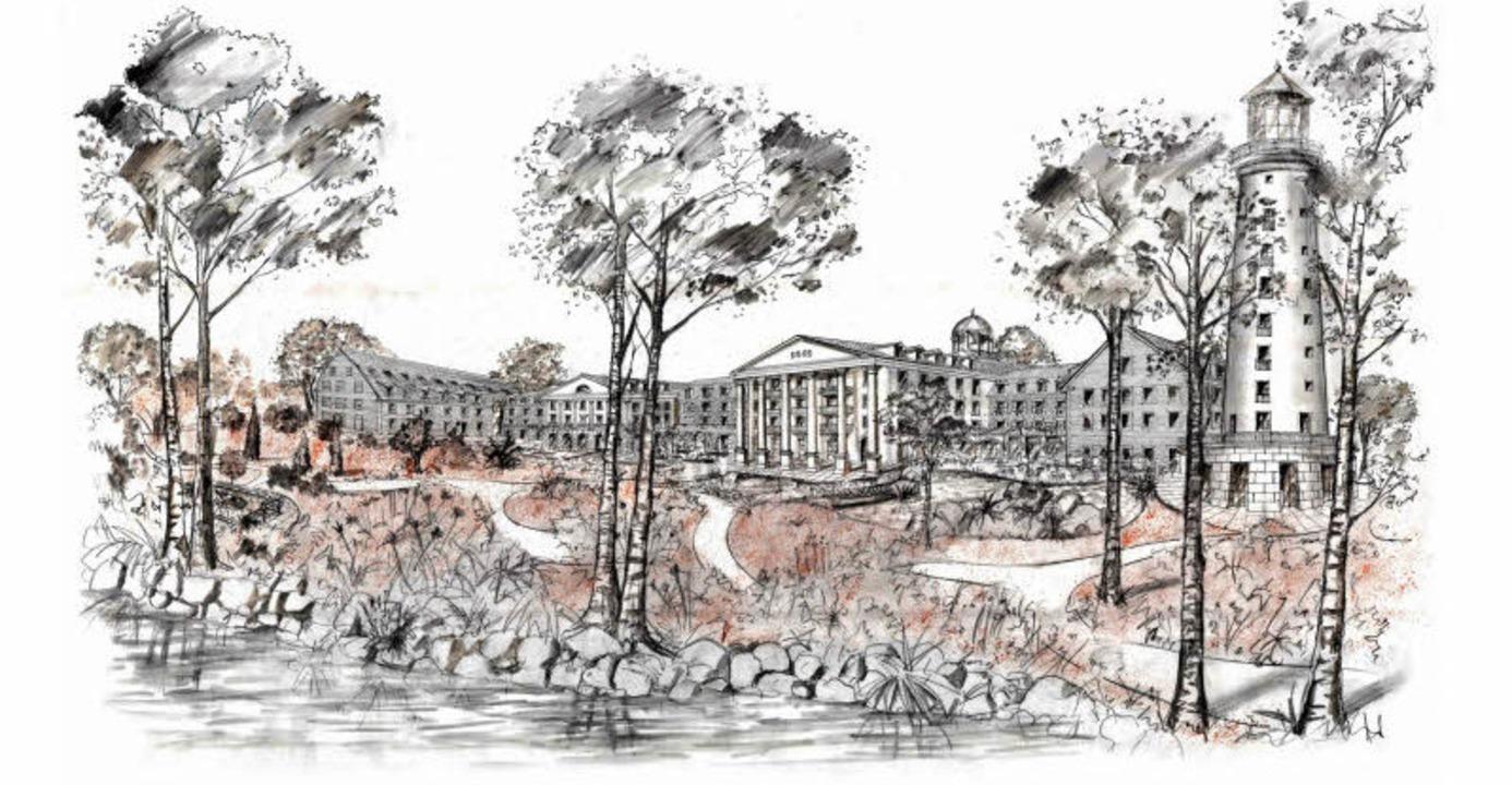 Der erste zeichnerische  Entwurf von R...es Europa-Park-Hotel im Kolonialstil.     Foto:  Europa-Park/Repro: BZ