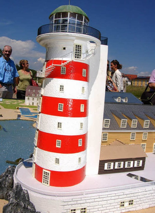 Der gewollte Hingucker noch als Modell: der Leuchtturm Bell Rock     Foto: C. Kramberg