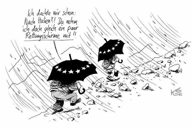 Kein wirklich erholsamer Urlaub für Frau Merkel . . .