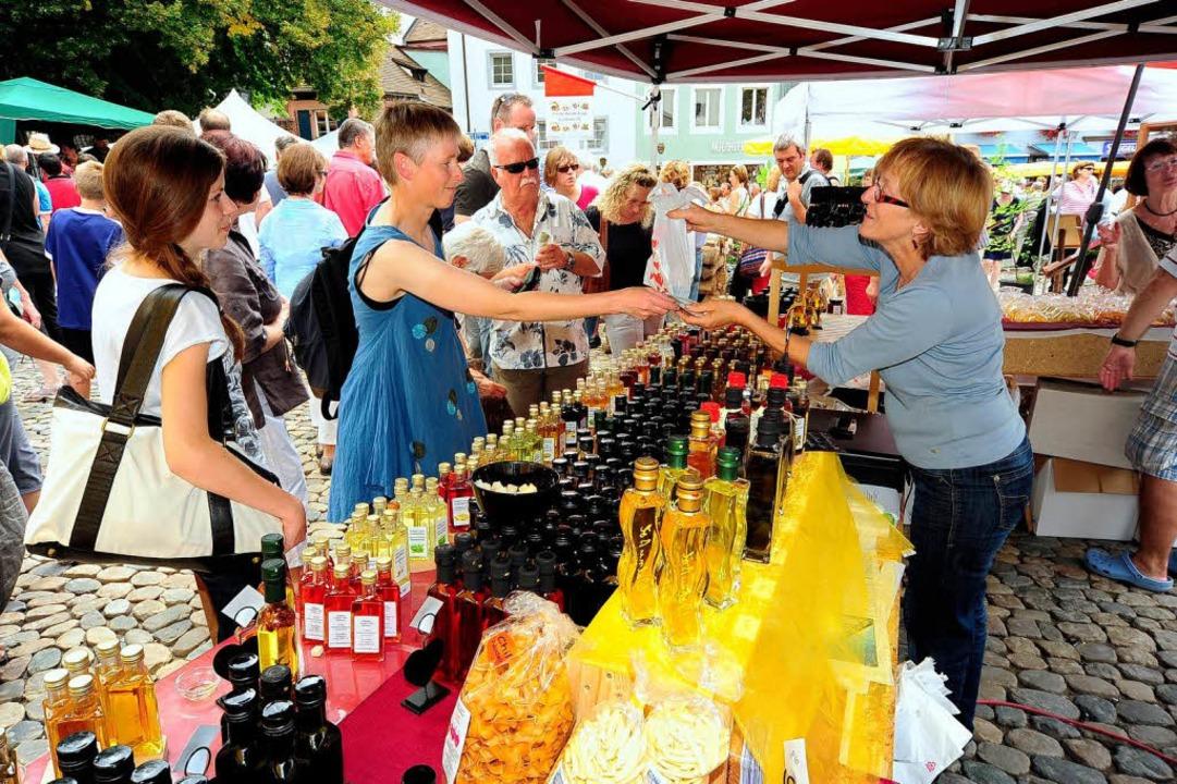 Schauen, schmecken – und Infos g... Birkenbeul am Stand des Hanselihofs.   | Foto: Thomas Kunz