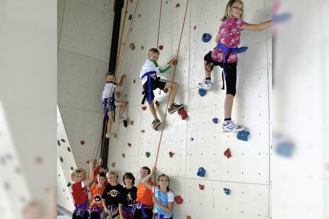 Wie Spiderman an der Kletterwand