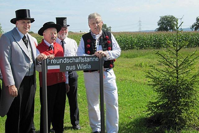 Die Tanne aus Wisla bekommt ein Schild