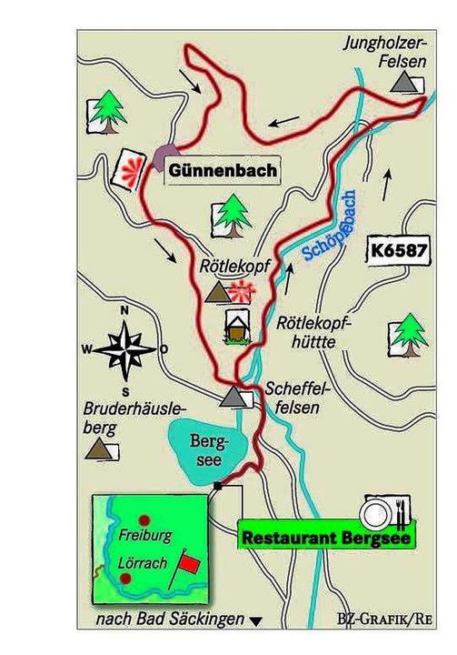 Karte: Restaurant Bergsee    Foto: bz