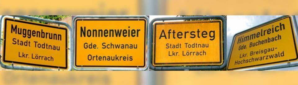 Ortsnamen in Südbaden