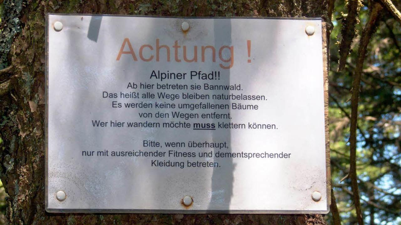 Warnschild am Alpinen Pfad.  | Foto: http://www.rainerundclaudia.de/