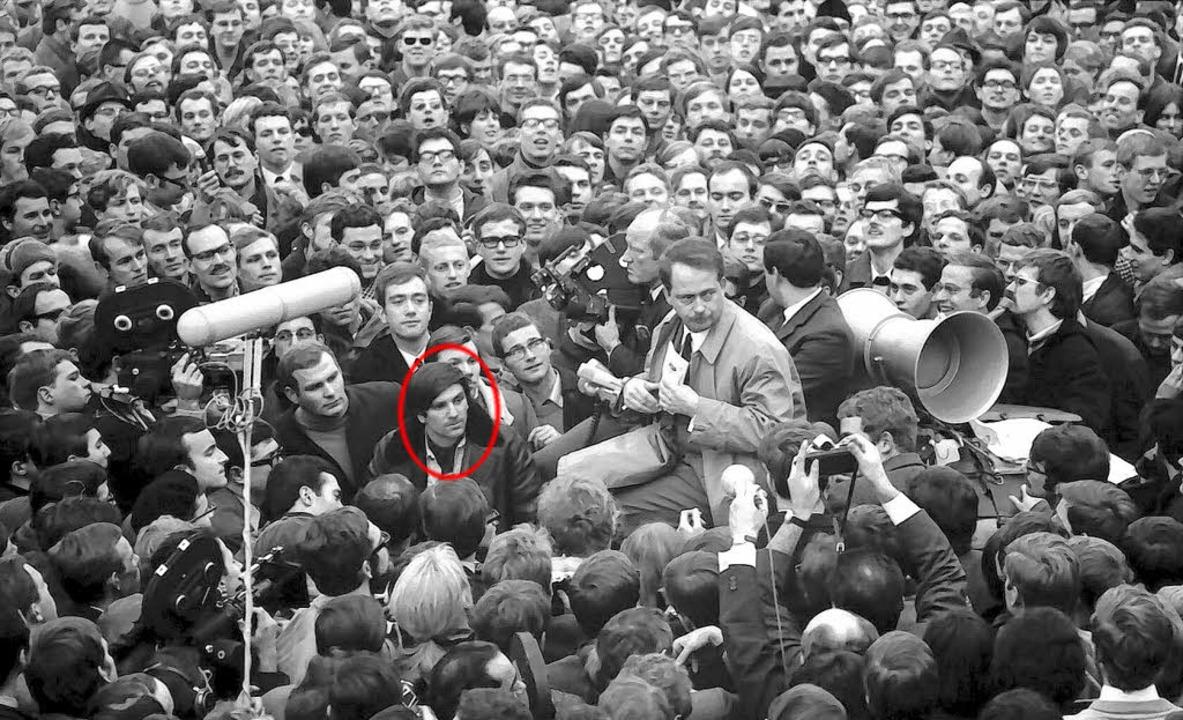 Rudi Dutschke (im Kreis) und Lord Ralf...dentenunruhen in Freiburg im Jahr 1968  | Foto:  Pragher/Staatsarchiv