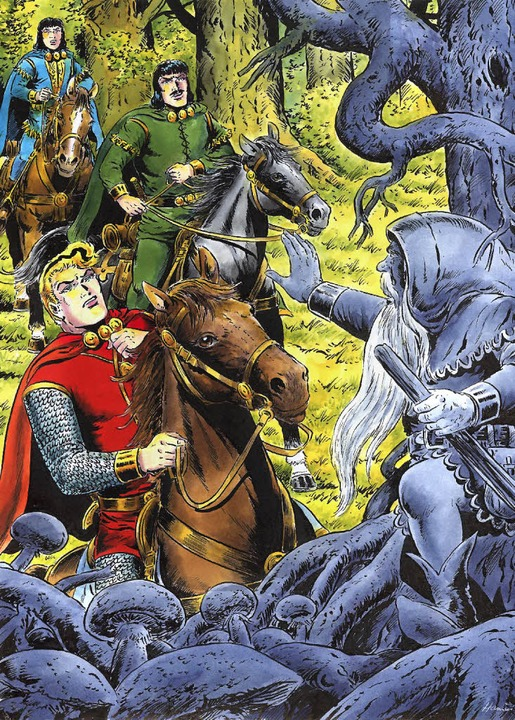 Ein   spätes  Sigurd-Tableau: Der ritt...eld,  Gefährte Bodo und Knappe Cassim   | Foto: Alle Zeichnungen: Hansrudi Wäscher/becker-illustrators