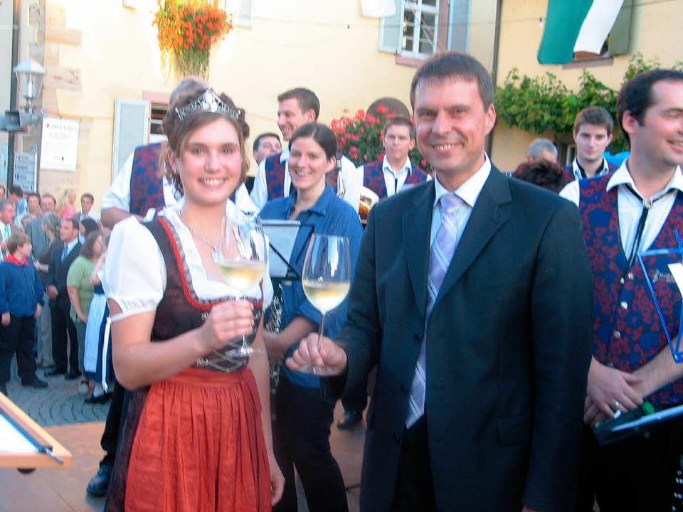 In Eichstetten übernahm die Badische W...estes mit Bürgermeister Michael Bruder    Foto: Gustav Rinklin