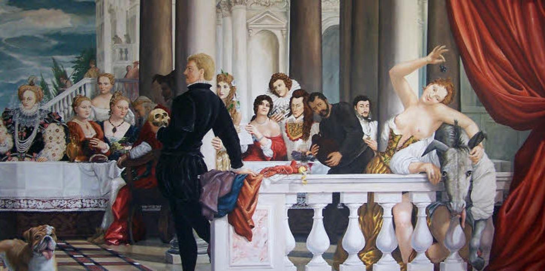 Hamlet und sein Hofstaat: Ausschnitt a...etrich Schwanitz entworfenen Wandbild   | Foto: Müller