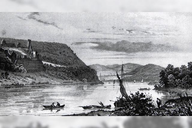 In hölzerner Fähre über den Rhein ?