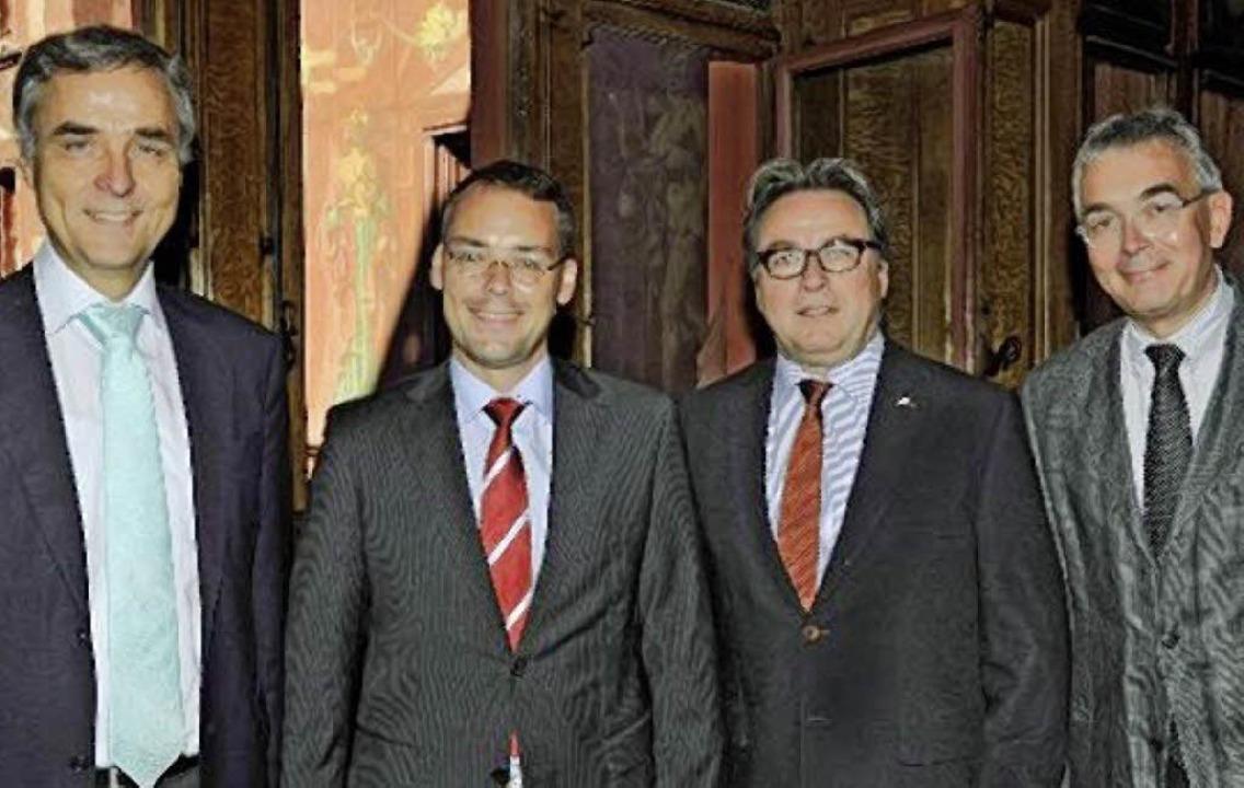 Guy Morin, Peter Friedrich, Urs Wüthrich  und  Christoph Brutschin (von links)     Foto: Juri Weiss