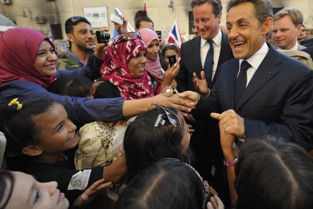 Sarkozy und Cameron lassen sich in Libyen feiern