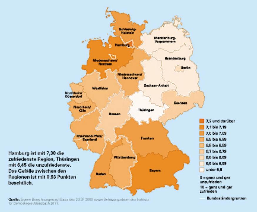 In welchen Regionen sind die Menschen ...ichsten? Die Übersicht für Deutschland  | Foto: Glücksstudie Deutsche Post