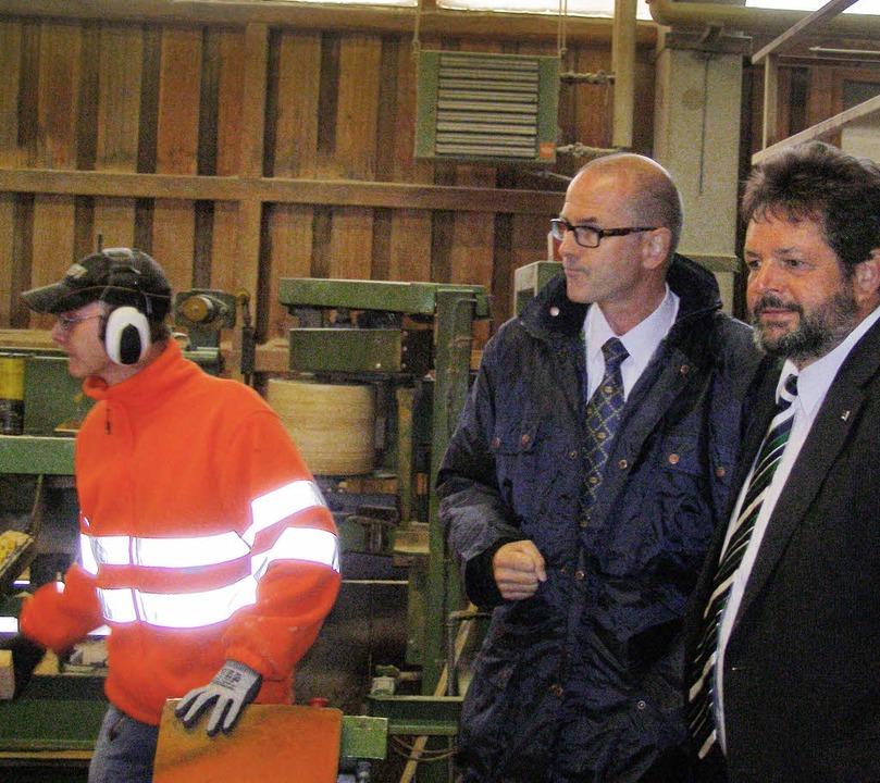 Reinhold Pix, Mitglied des Landtags, i...h über die Belange der Sägeindustrie.   | Foto: Heidrun Simoneit