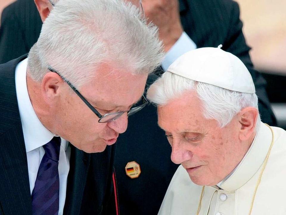 Winfried Kretschmann trifft Papst Benedikt XVI. in Freiburg  | Foto: dpa