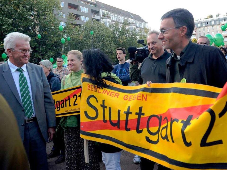 Gegner von Stuttgart 21 gibt es vieler... Besuch zufrieden feststellen konnte.   | Foto: dpa