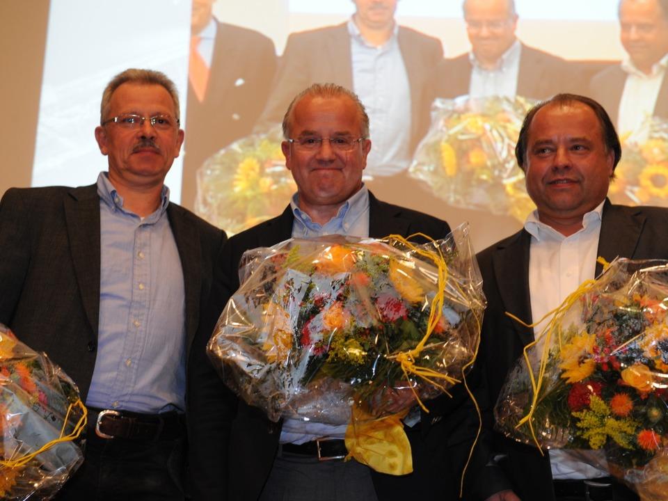 Heinrich Breit, Fritz Keller und  Martin Weimer bei der Mitgliederversammlung  | Foto: Patrick Seeger