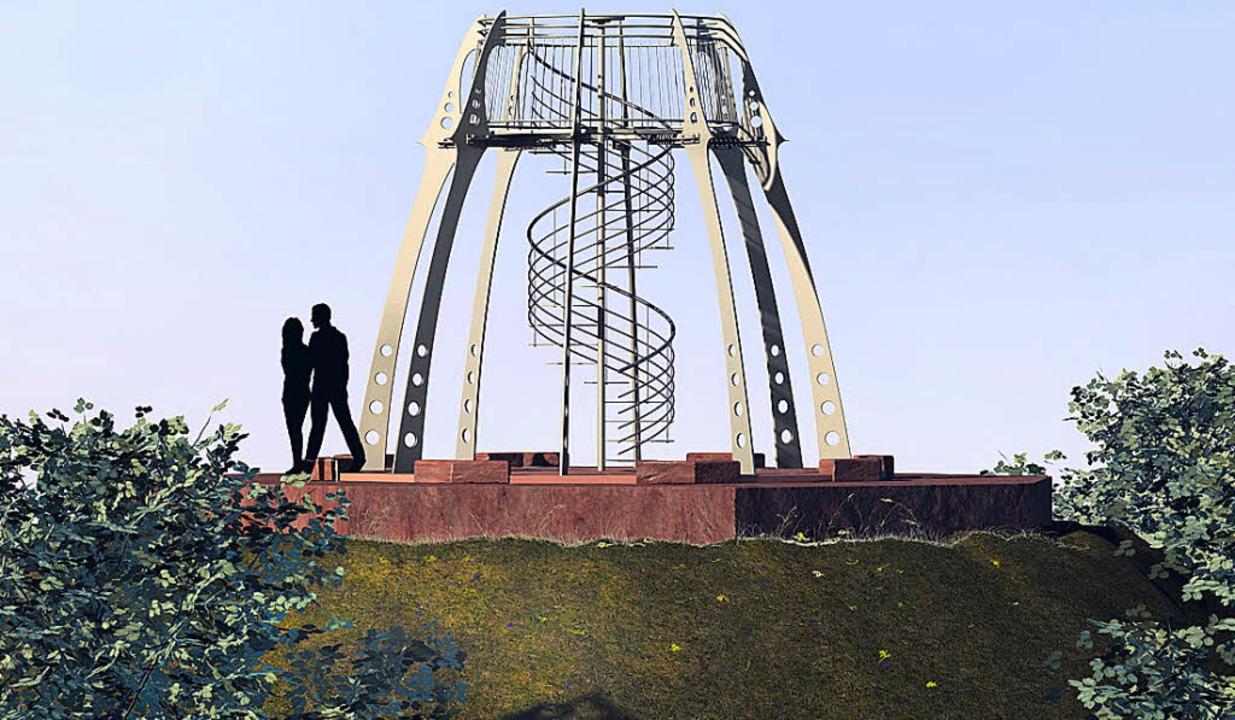 Einer der drei  Entwürfe für einen Tur...falls ja, welcher gebaut werden soll.   | Foto: mario schöneberg/Manfred Kranz
