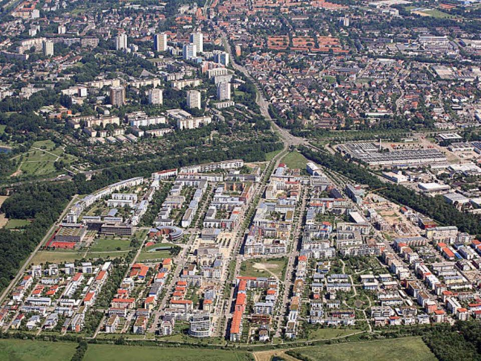 Der Stadtteil Rieselfeld in der Ansicht nach Osten.  | Foto: Stadtplanungsamt