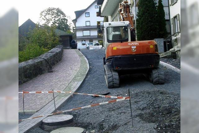 Bei den Bauarbeiten auf der Zielgeraden