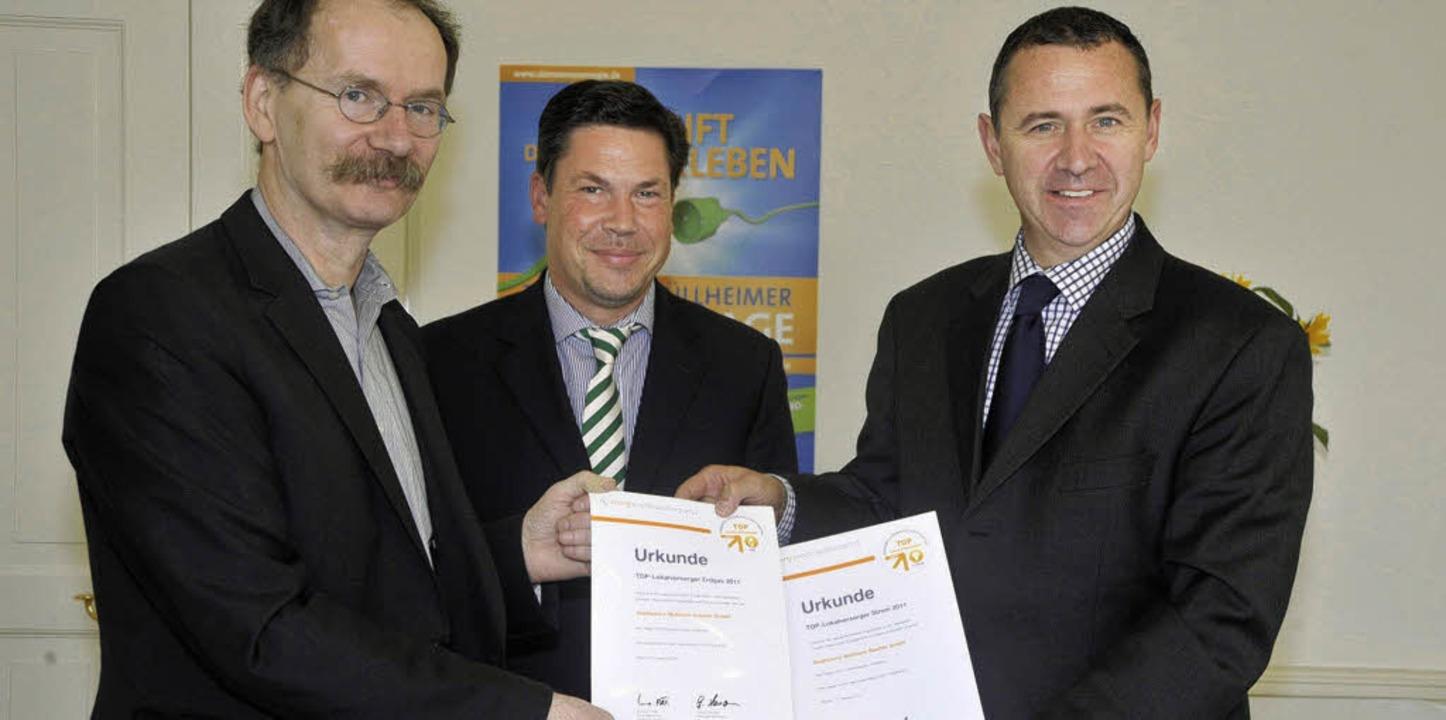 Die Stadtwerke Müllheim-Staufen sind w... Bürgermeister René Lohs (von links).   | Foto: Volker Münch