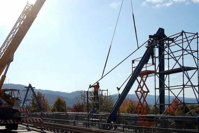 Stahltrossen per Kran eingesetzt