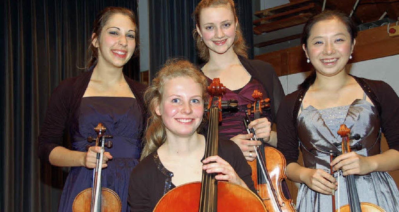 "Das ""Quartetto Mobile"" mus...nds, Xenia Geugelin und Shih yu Tang.   | Foto: Andrea Steinhart"