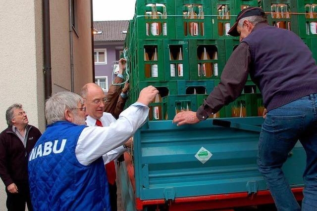 Aus acht Tonnen Obst werden 5000 Liter Saft