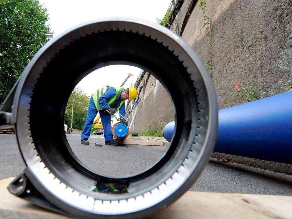 Mal dürfen sie verlegt werden, dann wi...rundwassermanagement von Stuttgart 21.    Foto: dpa