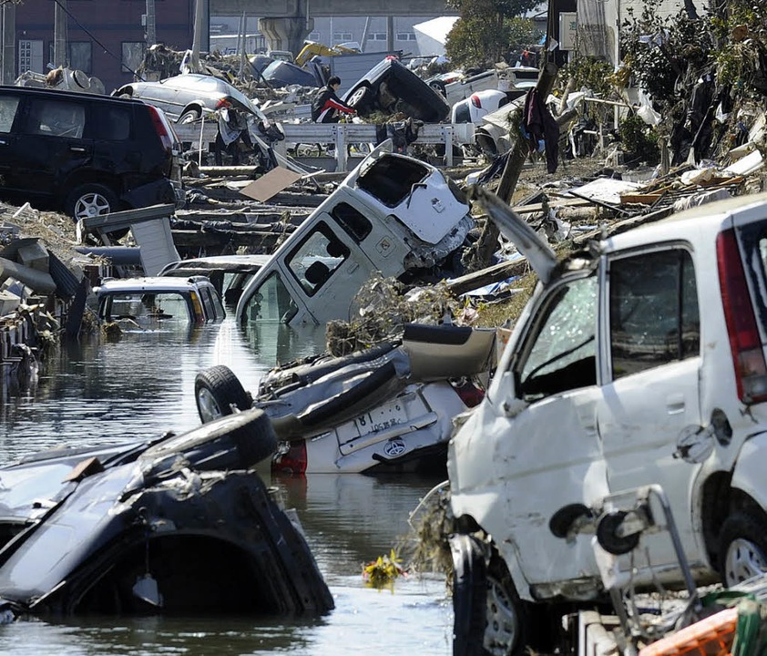 Ein Bild der Verwüstung: Tagajô nach d...in flossen die Spenden aus Säckingen.   | Foto: AFP
