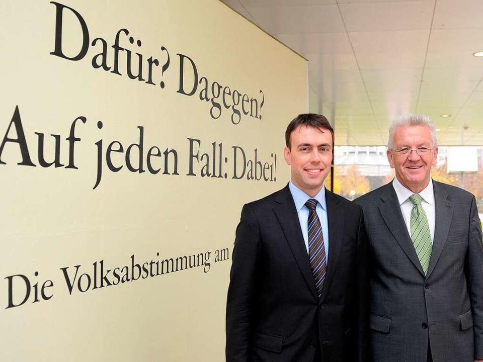 Finanzminister Nils Schmid und Ministe...ür den Volksentscheid zu Stuttgart 21.  | Foto: dpa