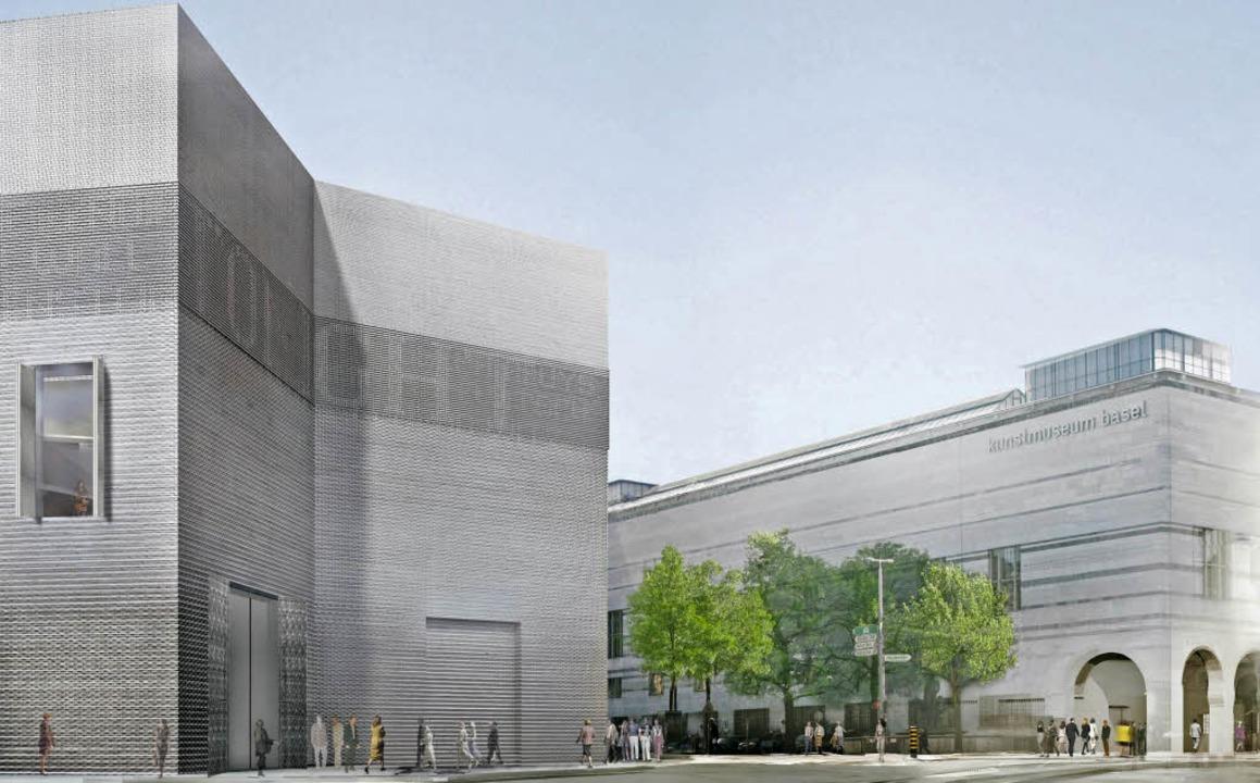 Diese Visualisierung zeigt den Blick v...f Erweiterung  (links) und Haupthaus.   | Foto: Bau- und Verkehrsdepartement Basel-Stadt
