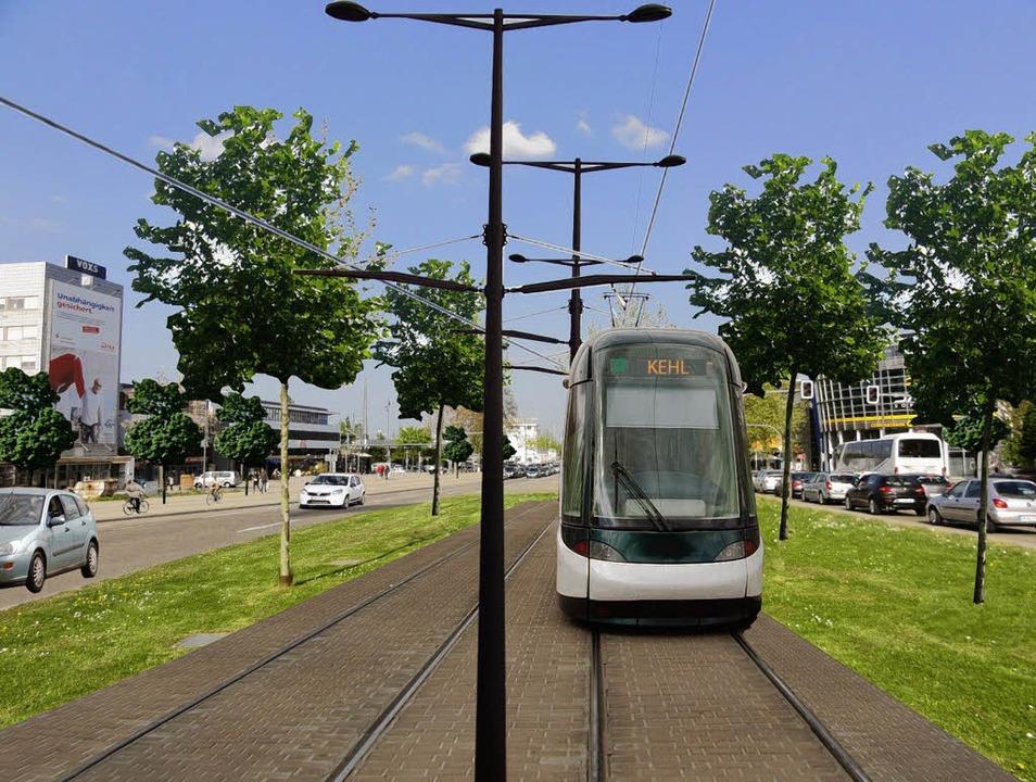 Noch Zukunftsmusik, die aber in den Oh...uss ans  Straßburger Straßenbahnnetz.     Foto: Montage: Stadt Kehl