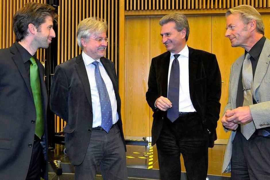 Boris Palmer (Grüne), Thomas Hauser (BZ-Chefredakteur), Günter Oettinger (CDU) und Stefan Hupka (BZ), von links nach rechts. (Foto: Michael Bamberger)