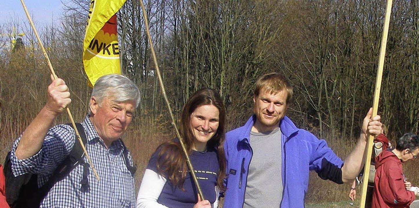 Frank Baum mit seinen Kindern Ulrike u...vom AKW Neckarwestheim nach Stuttgart   | Foto: privat