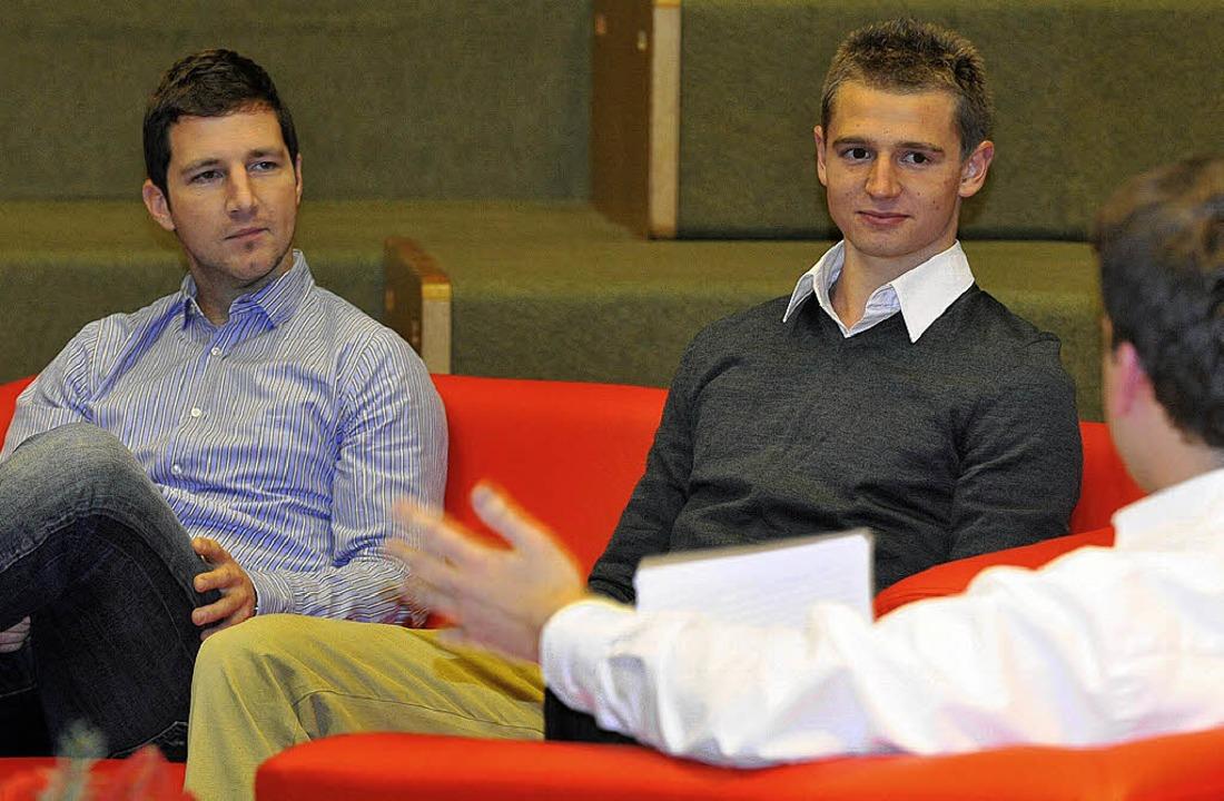 Jochen Saier (links) und SC-Abwehrtalent Immanuel Höhn  | Foto: bamberger