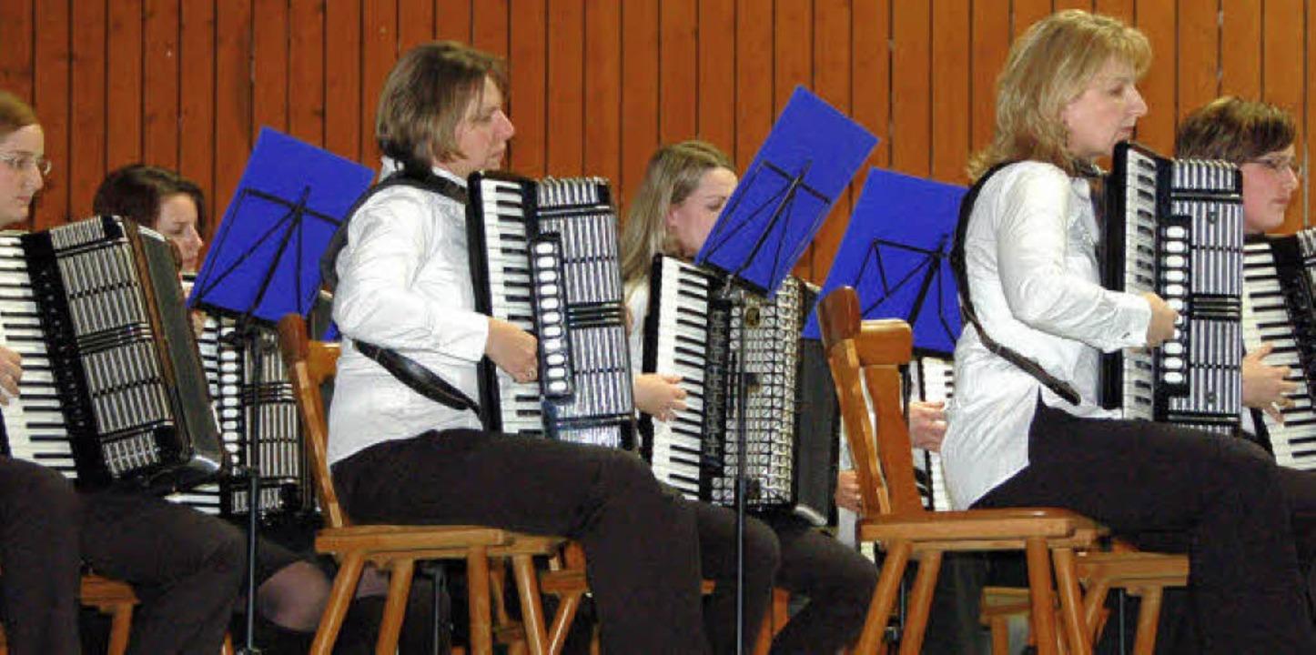 Auch das Hauptorchester des Akkordeon-Clubs Reute begeisterte die Zuhörer.  | Foto: Pia Grättinger