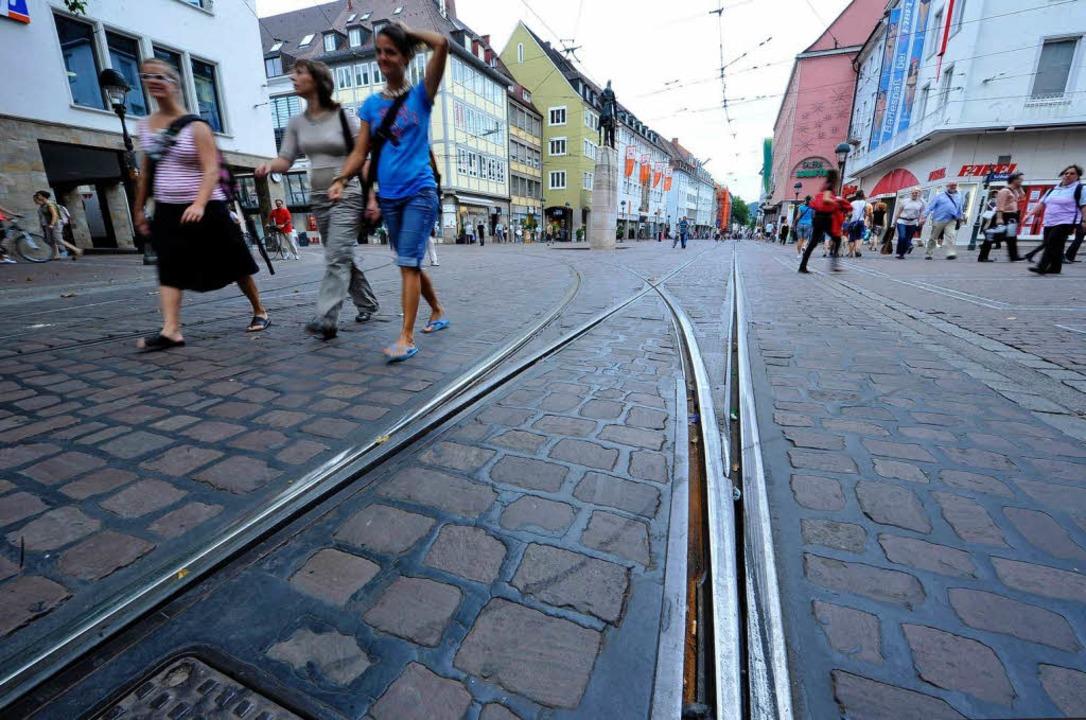 Streikfoto: keine Straßenbahn in der Freiburger Innenstadt  | Foto: Michael Bamberger