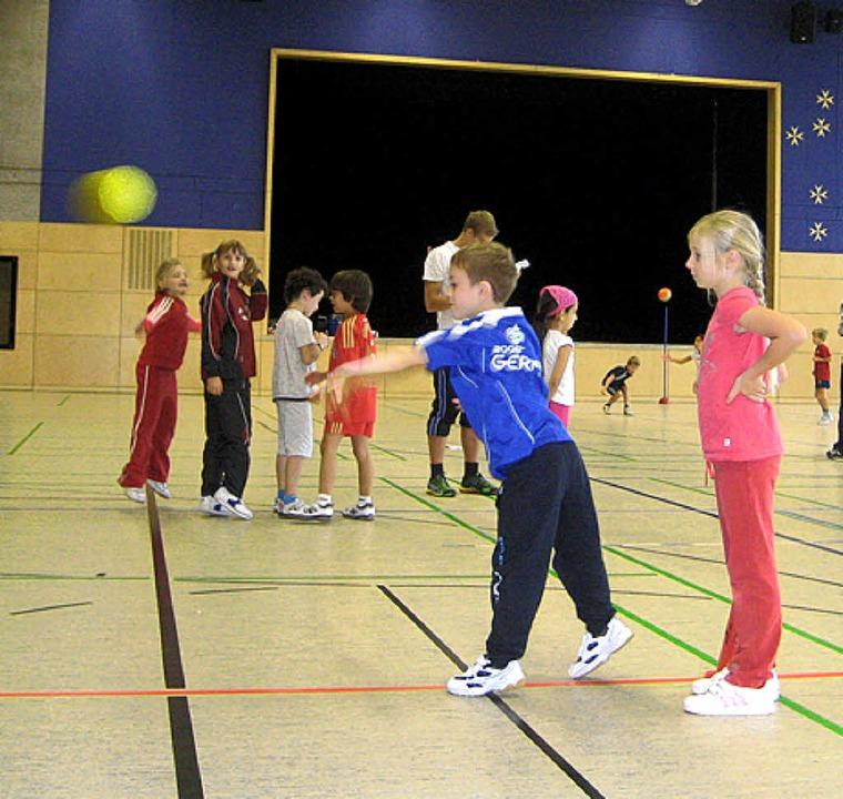 So geht Handball! Dies erfuhren jetzt ...eimer Grundschüler an einem Sporttag.   | Foto: Privat