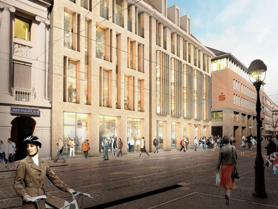 Eine Initiative fordert die Sparkasse ...Neubau in der Innenstadt zu errichten.  | Foto: Treubau, SBB, Sparkasse