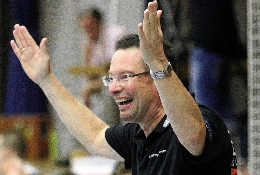 Da kommt Freude auf bei SG-Coach Ole A..., der seinen Vertrag  verlängert hat.     Foto: Bargmann