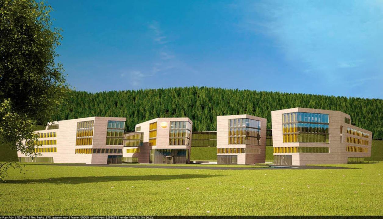 Bezogen wird das zweite Gebäude von li... Straße/Badeparadies Schwarzwald aus.   | Foto: Sacker Architekten