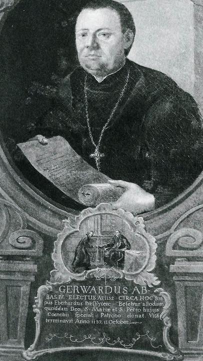 Portät des Abtes Gerward (Abt 1132-113...m Kreuzgang des Klosters St. Peter).      Foto: Hans-Otto Mühleisen