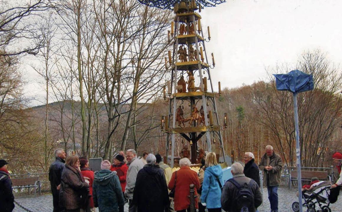 Die Pyramide auf Weihnachtsmarkt in Schwarzenberg.     Foto: zvg