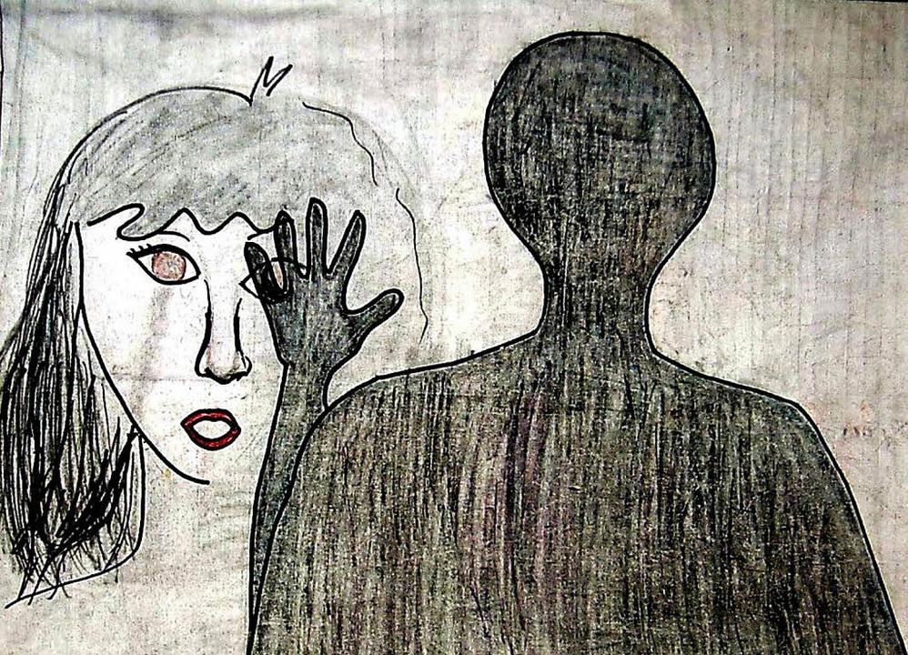 Schutzlos einem Schatten ausgeliefert: Zeichnung eines missbrauchten Kindes.   | Foto: ddp