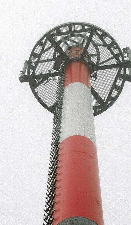 Signal in der Landschaft: Der Bau des ...wird der Sendemast  in Betrieb gehen.   | Foto: Gerd Sutter