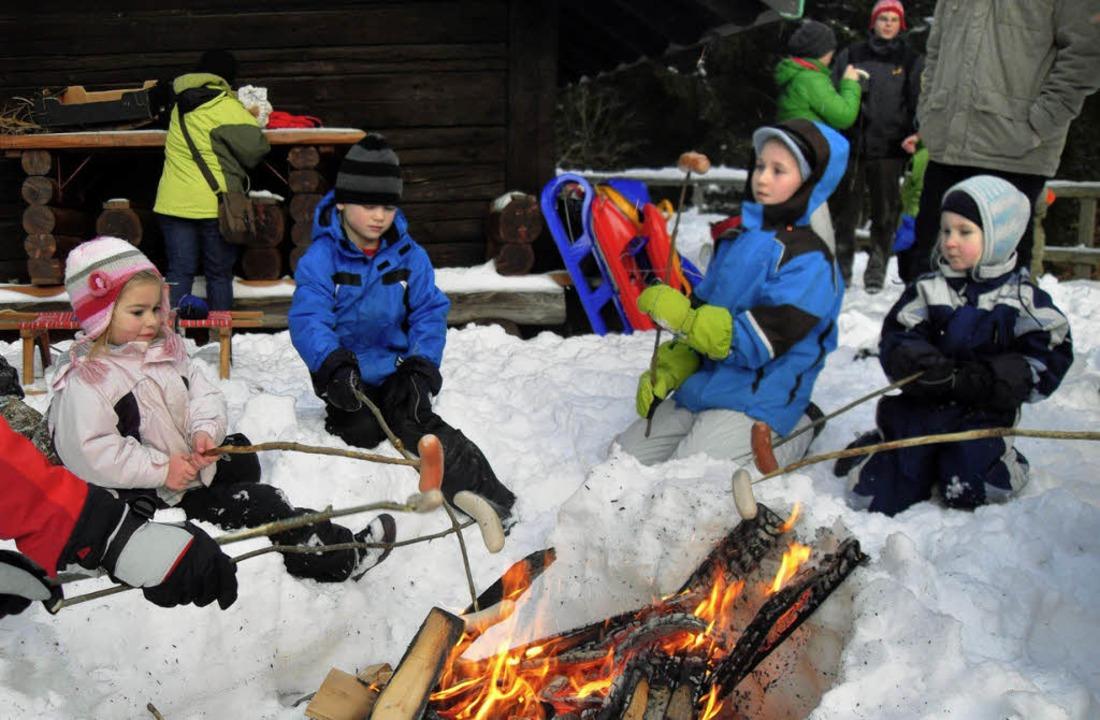 Das Würstchengrillen am Lagerfeuer war...äusern das Wanderjahr 2012 eröffnete.   | Foto: Siegfried Krex