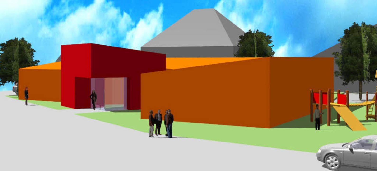 So soll der Baukörper des Kindergarten... Bauherrin ist die Gemeinde Ringsheim.    Foto:  Architekturbüro Fass, Rust/Repro: BZ